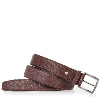 Brown belt with print nubuck