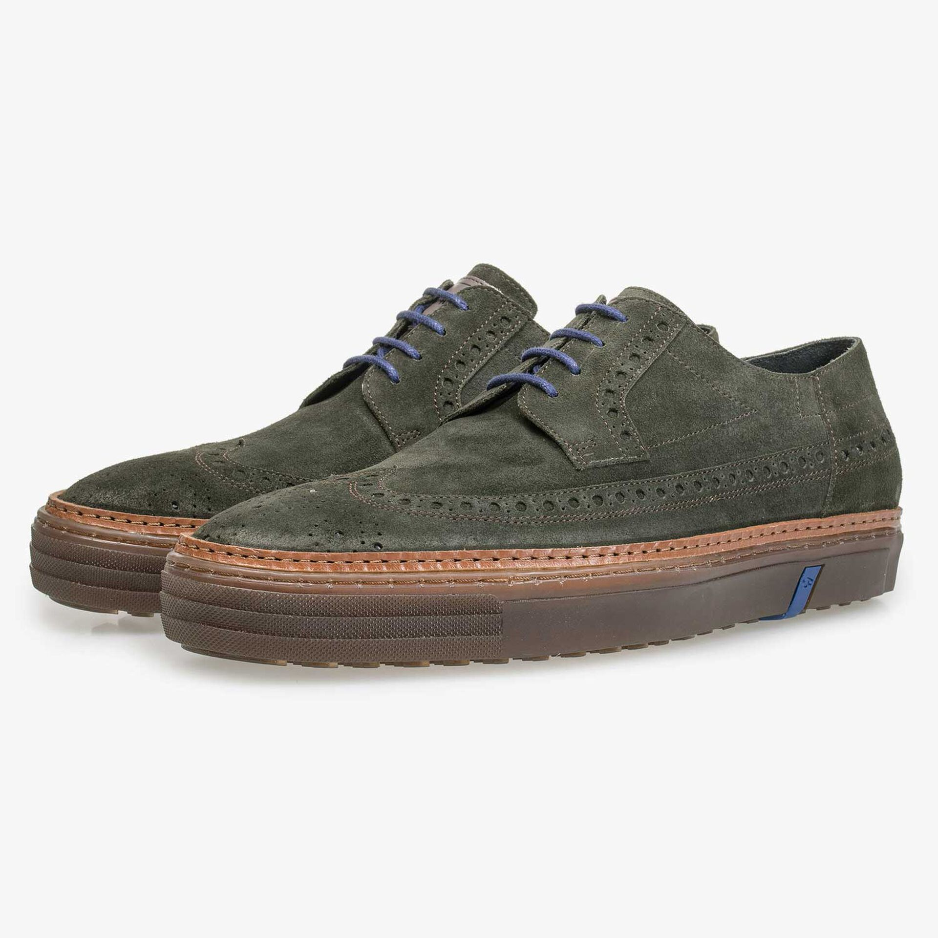 Green suede leather lace shoe