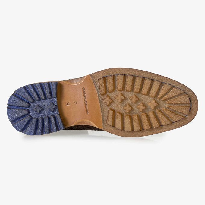 Premium cognac-coloured printed pony hair lace boot