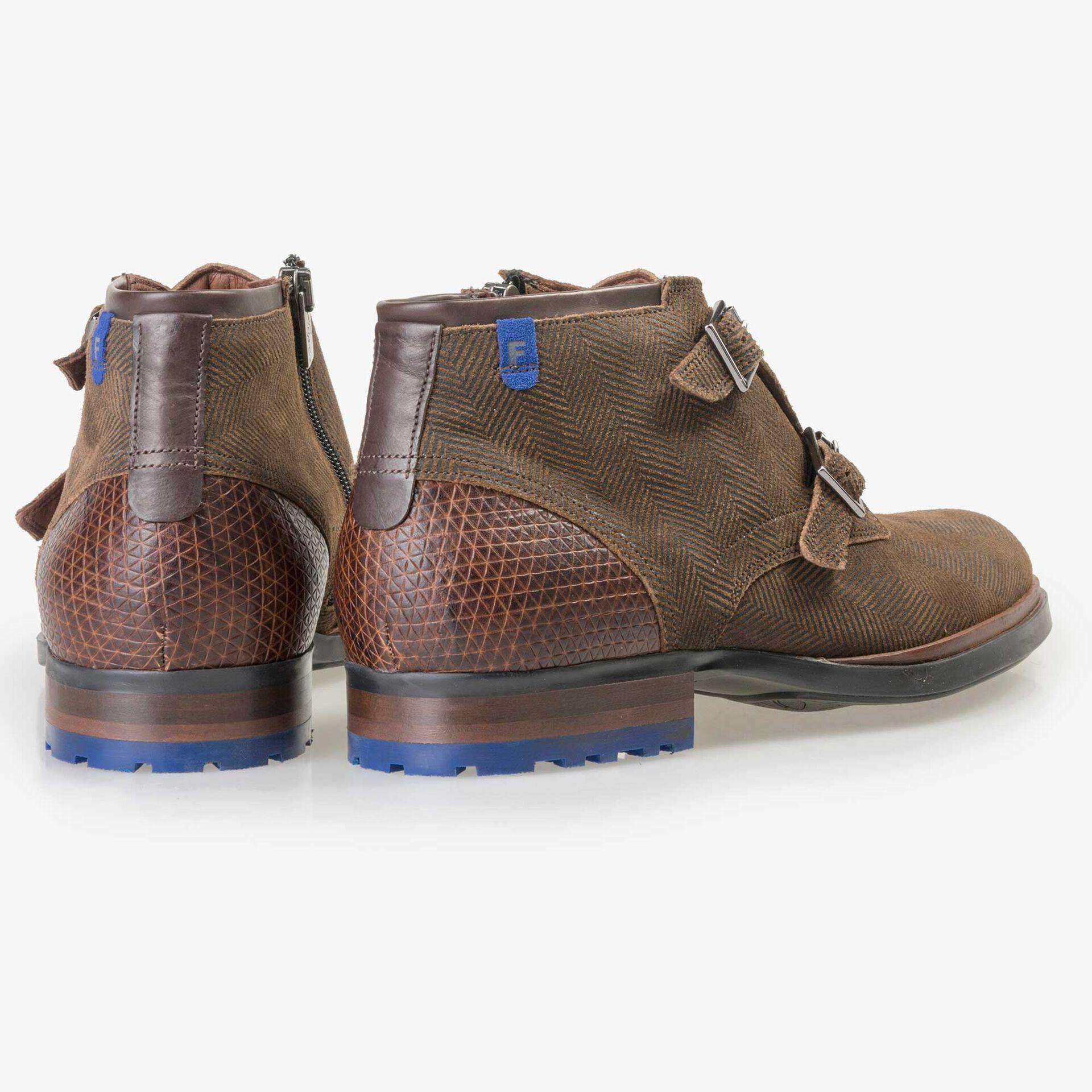 Floris van Bommel men's  brown suede leather zip boot