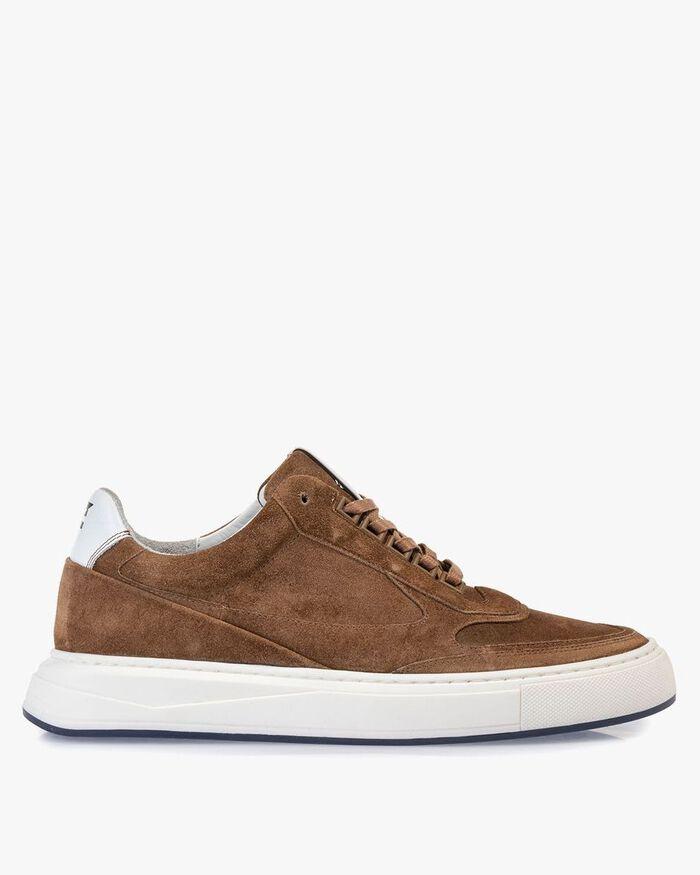 Sneaker suede leather cognac