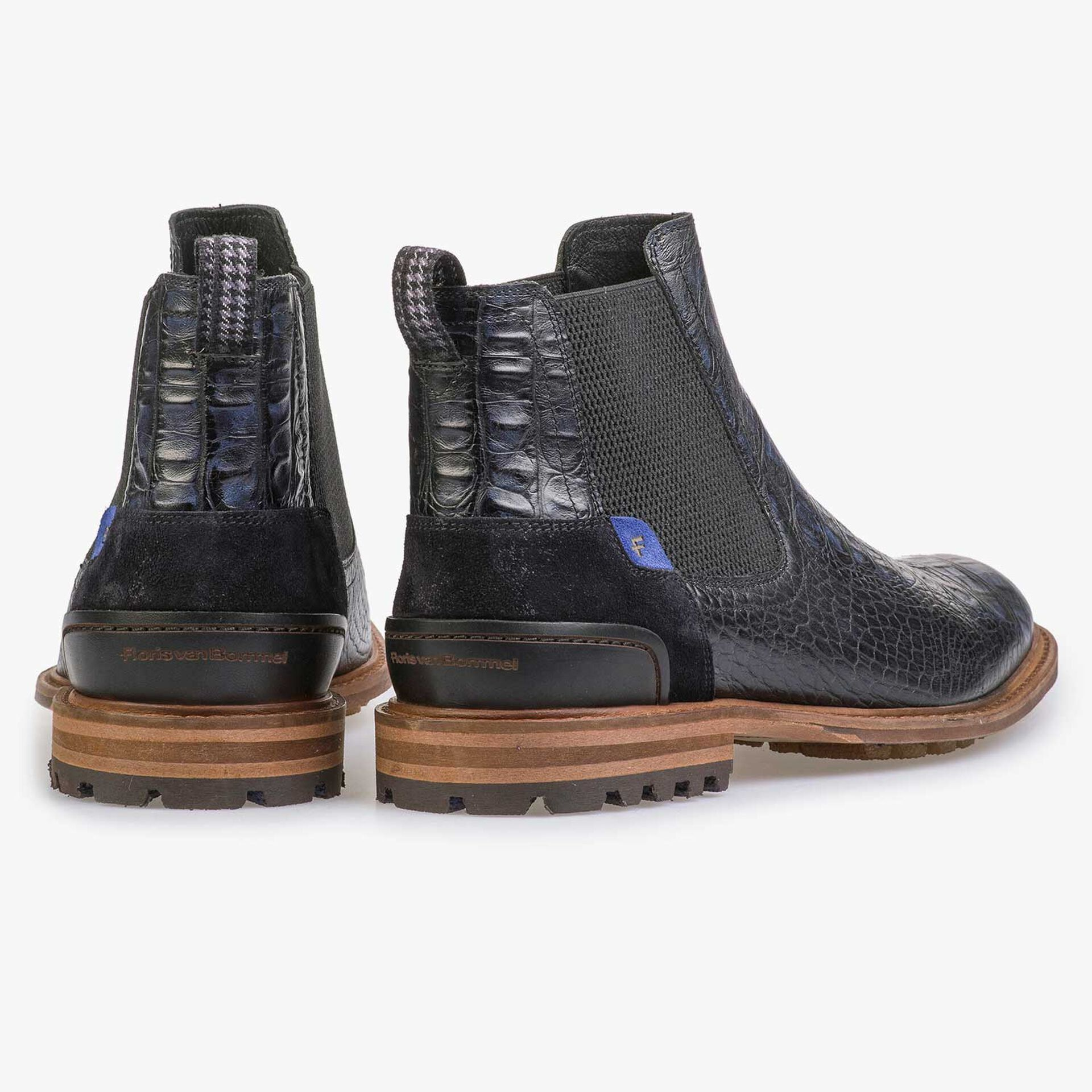 Blue leather Chelsea boot with croco print