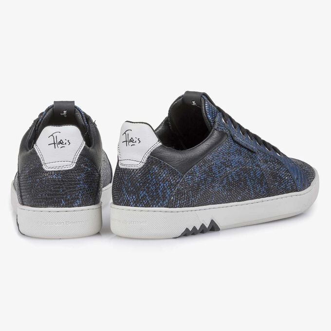 Blue premium leather lace shoe with metallic print