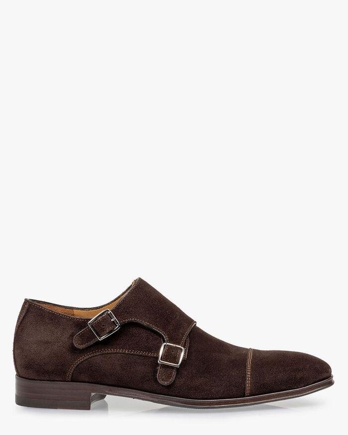Monk strap suede dark brown