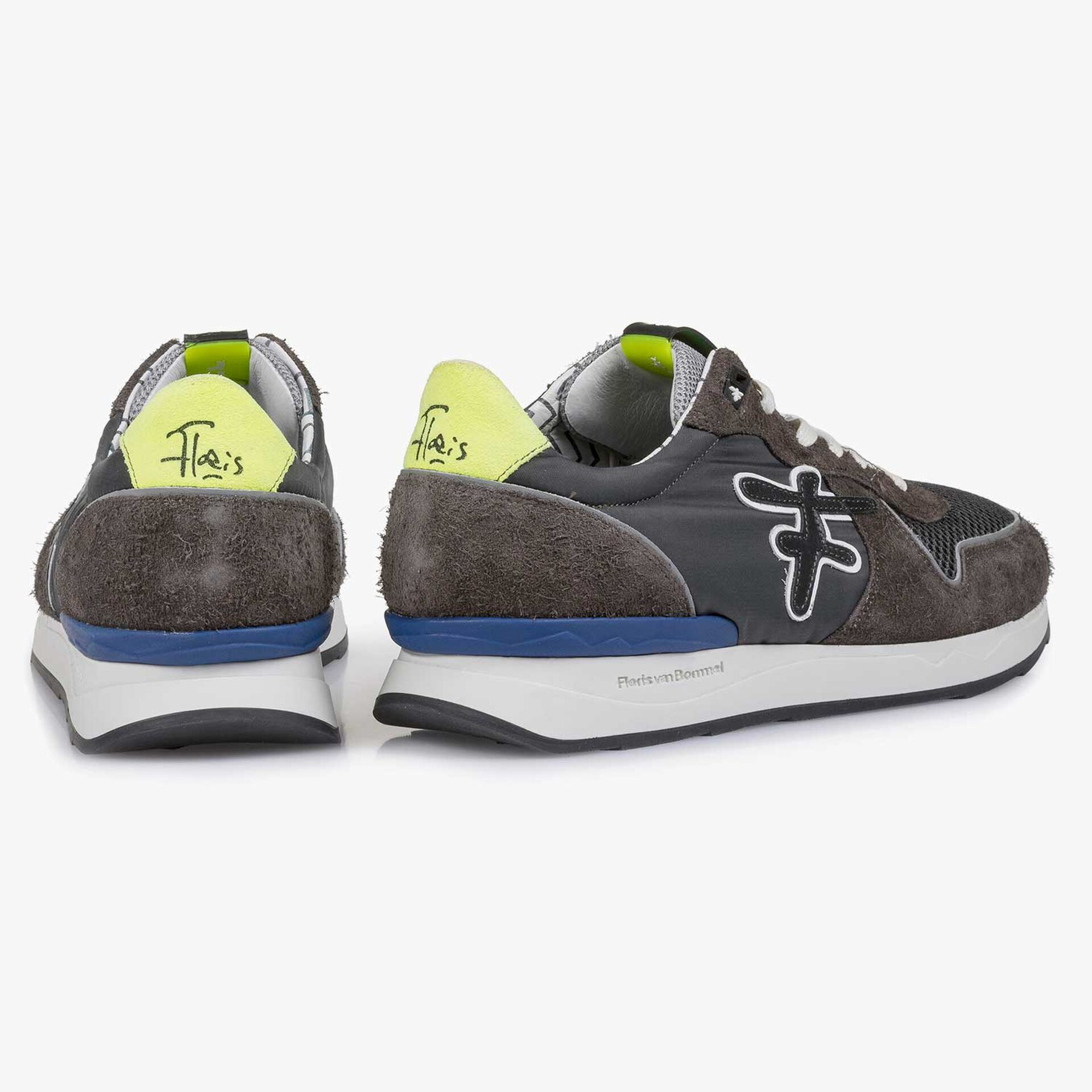 Grey-blue suede leather sneaker