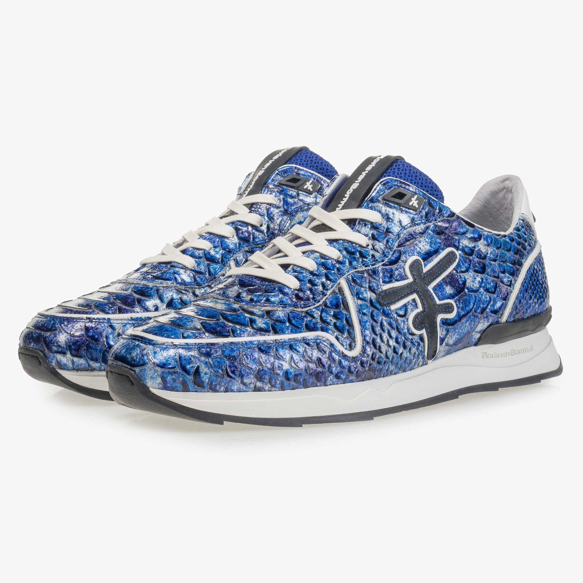 Blue patent leather snake print sneaker
