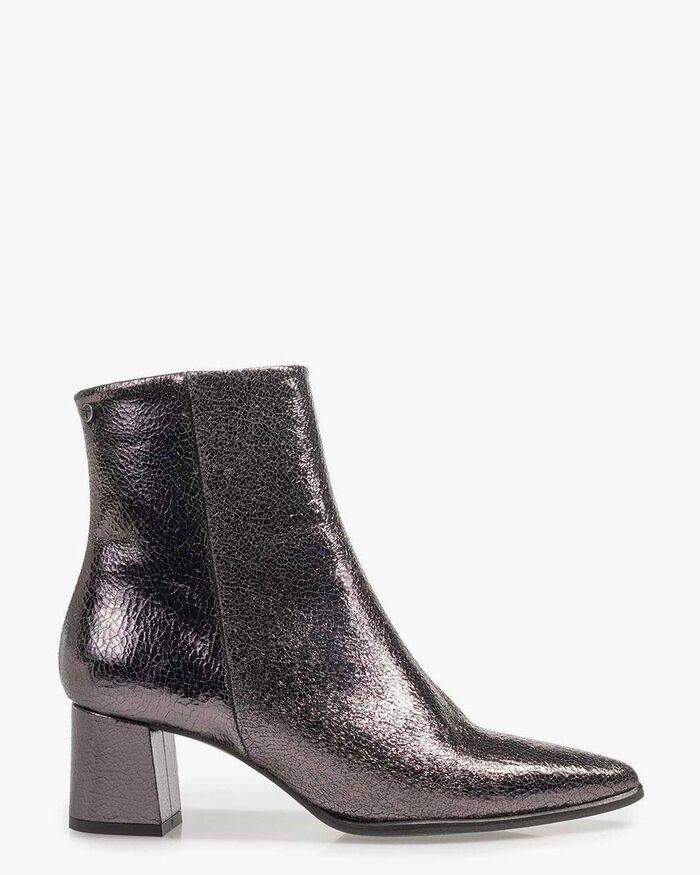 Dark grey ankle boots metallic print