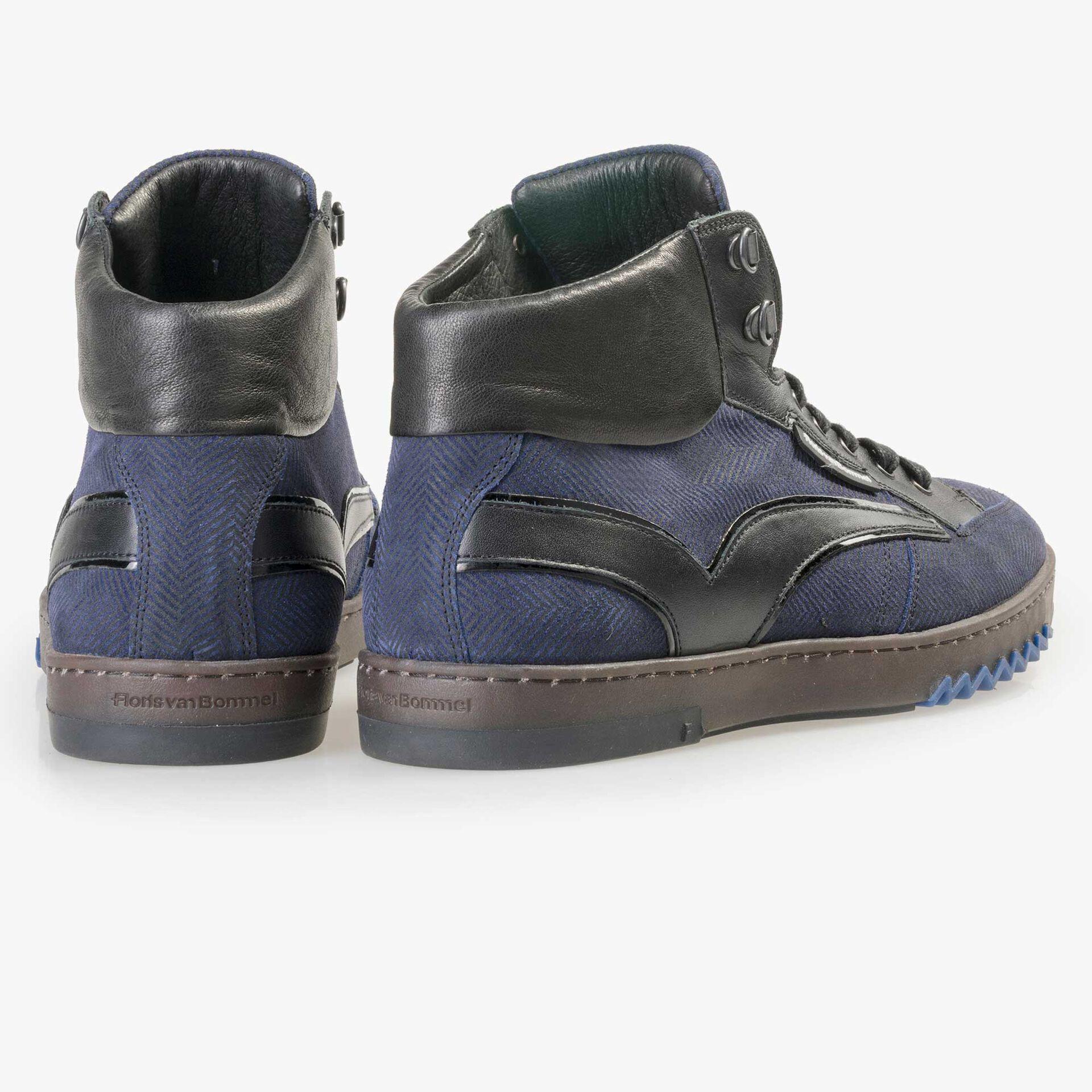 Floris van Bommel men's mid-high, blue suede leather sneaker