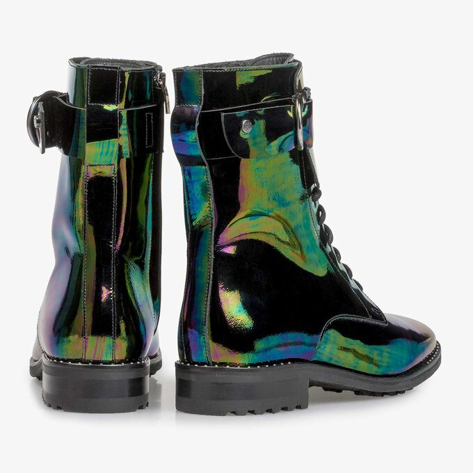Multi-coloured patent leather lace boot