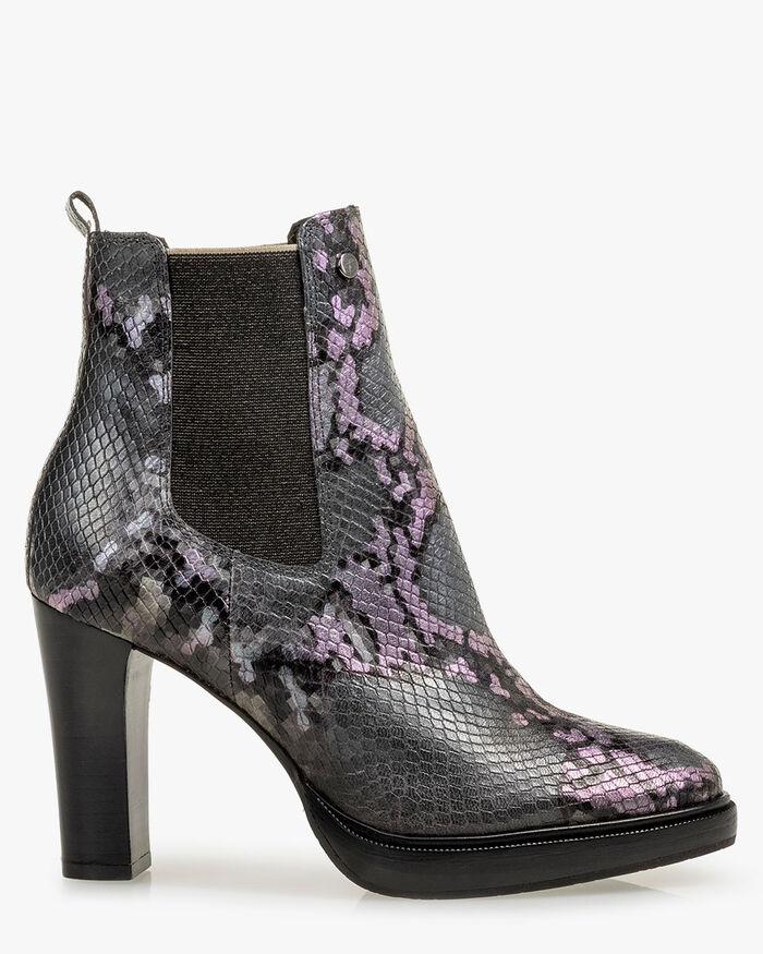 Chelsea boot reptielenprint grijs