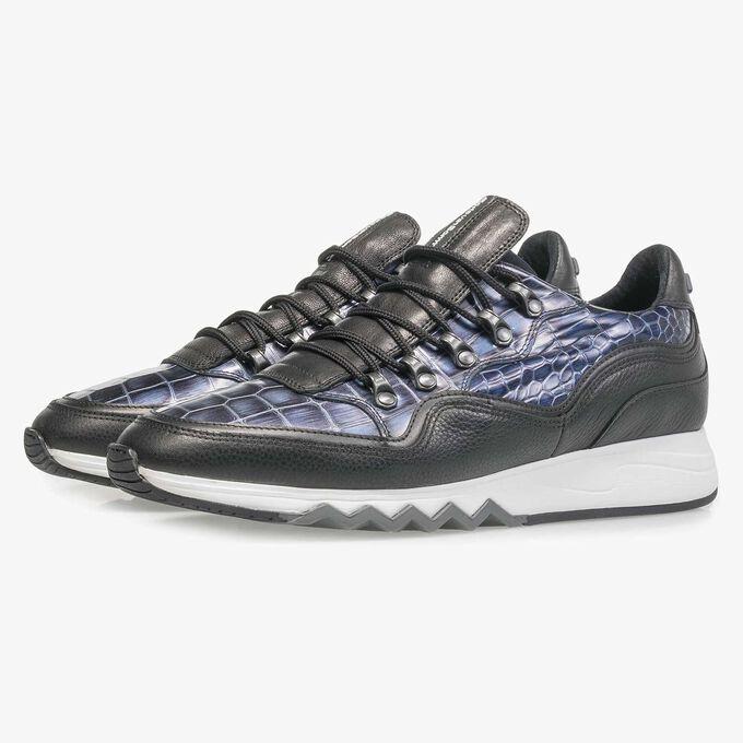 Premium blauwe metallic leren sneaker met print