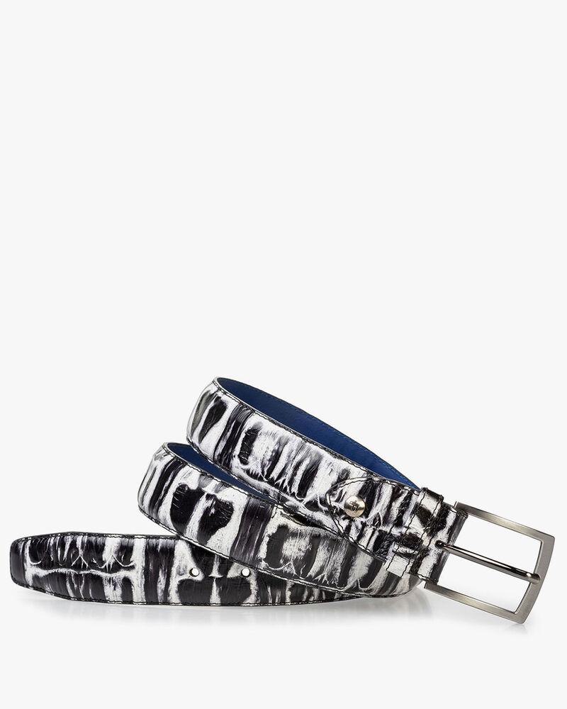 Riem crocoprint zwart/wit