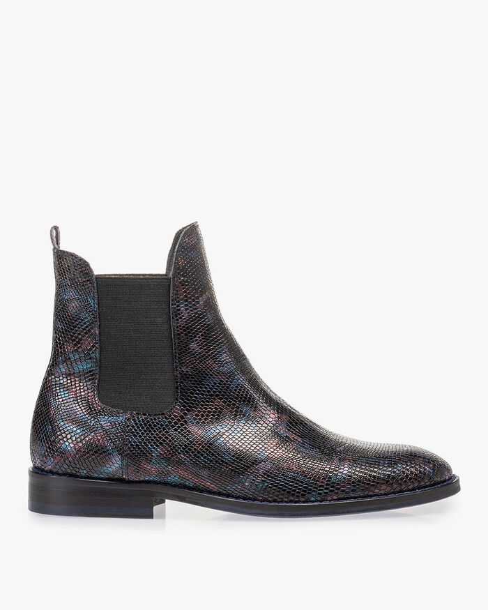 Chelsea boot crocoprint blauw