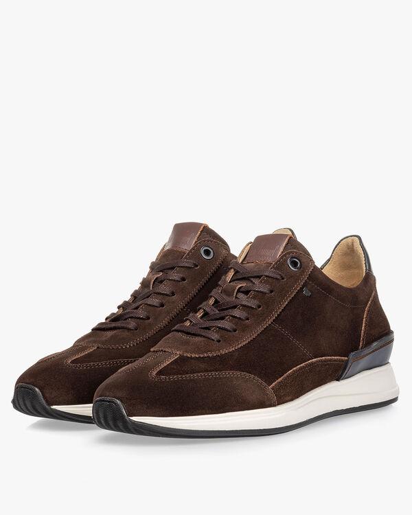 Sneaker suède donkerbruin