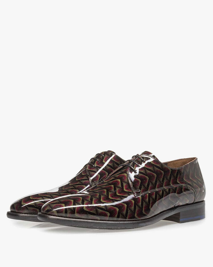 Burgundy red patent leather lace shoe with print