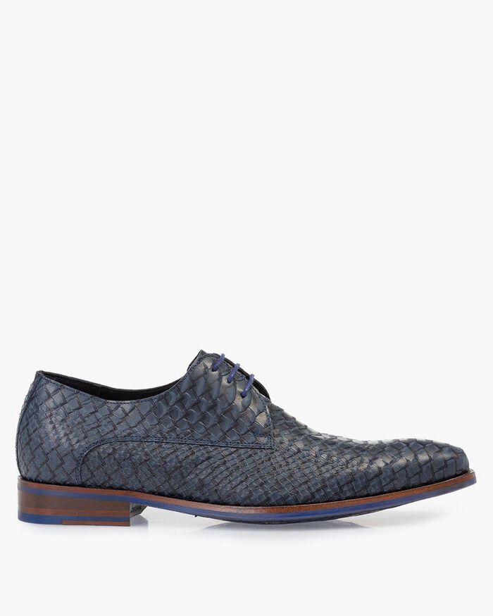 Lace shoe blue nubuck leather