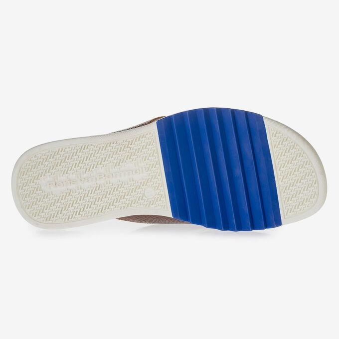 Cognac-coloured calf leather thong slipper