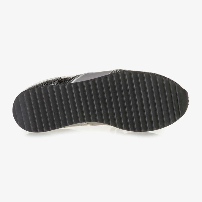 Donkerzilveren metallic leren sneaker