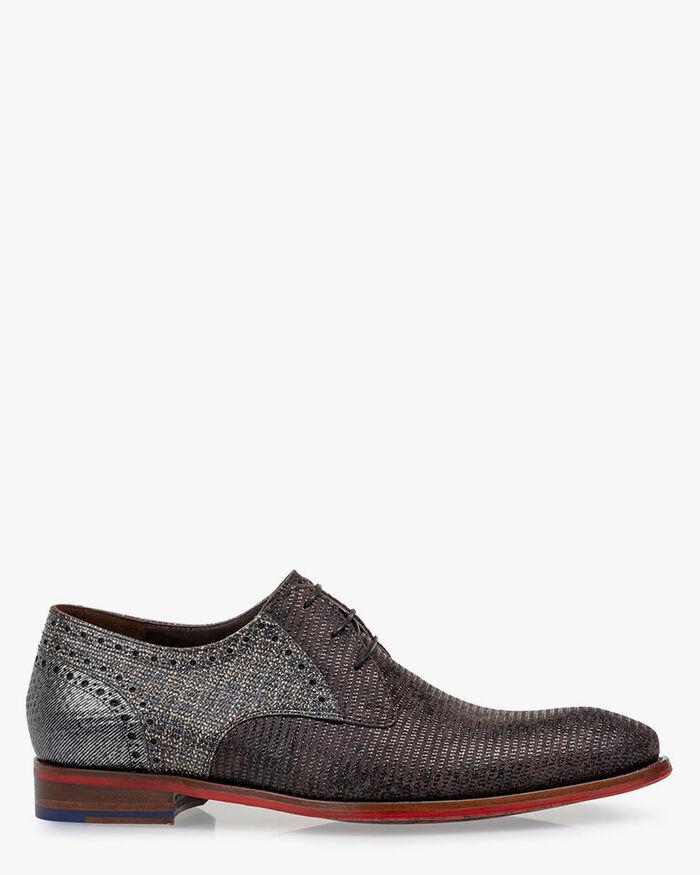 Lace shoe printed suede grey