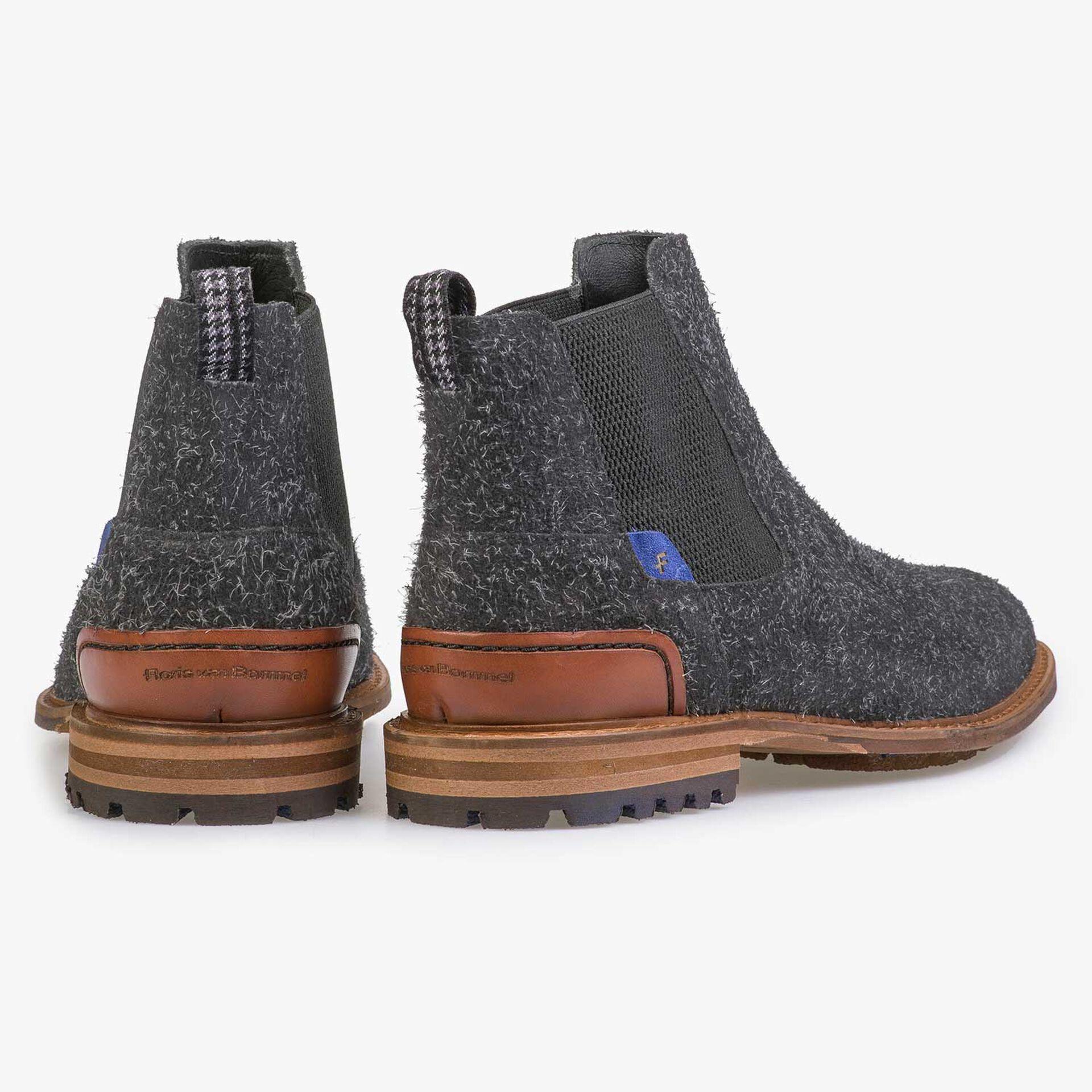 Donkergrijze ruwharige chelsea boot