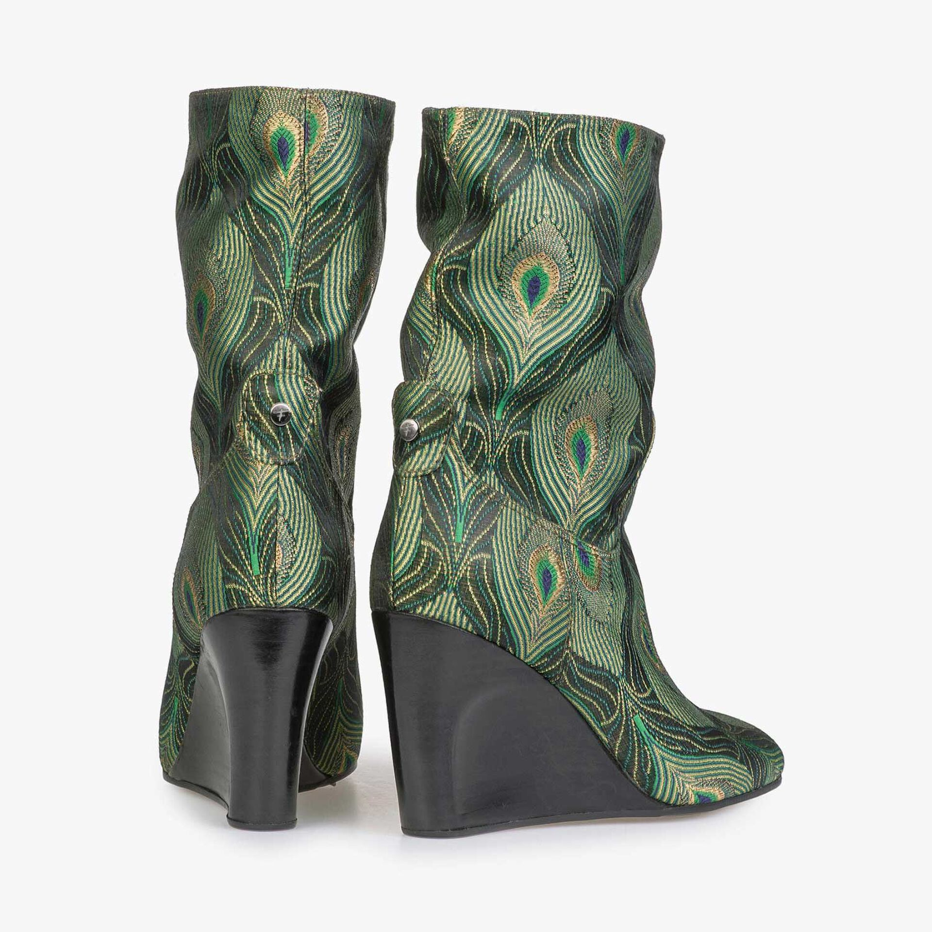 Mid-high boot with green peacock print