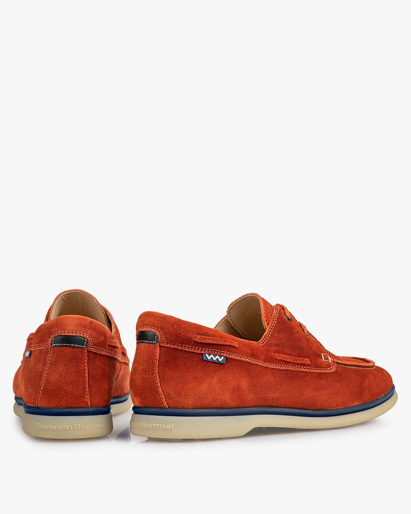 Boat shoe suede leather orange
