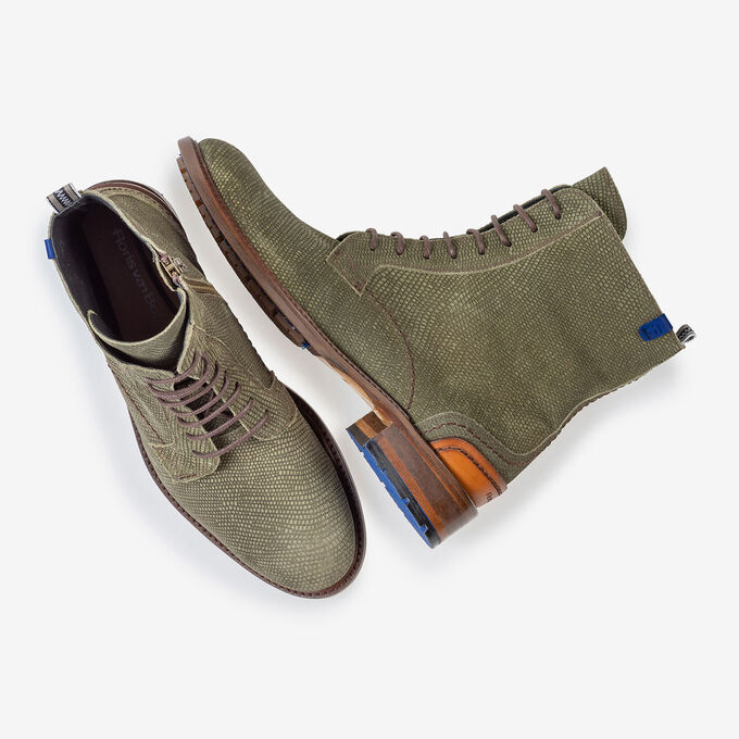 Lace boot green suede leather
