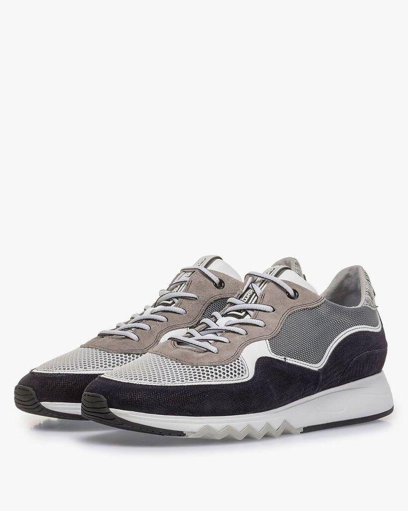 Suède sneaker grijs/zwart