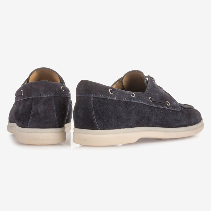 Dark blue suede leather boat shoe