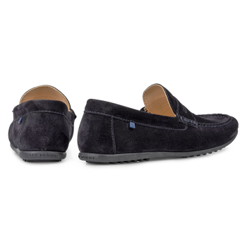 Moccasin suède donkerblauw