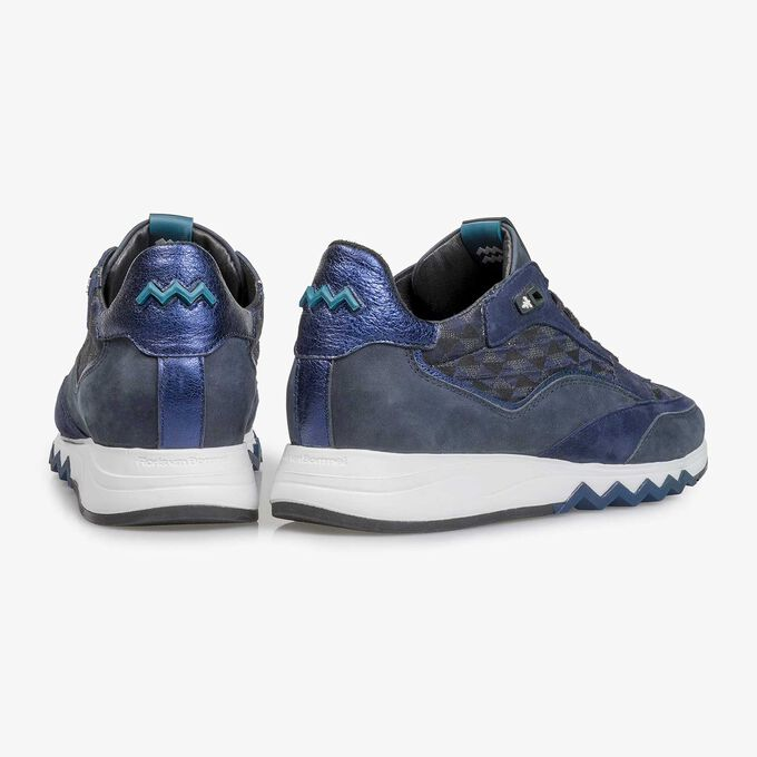 Blue suede leather sneaker with graphic print