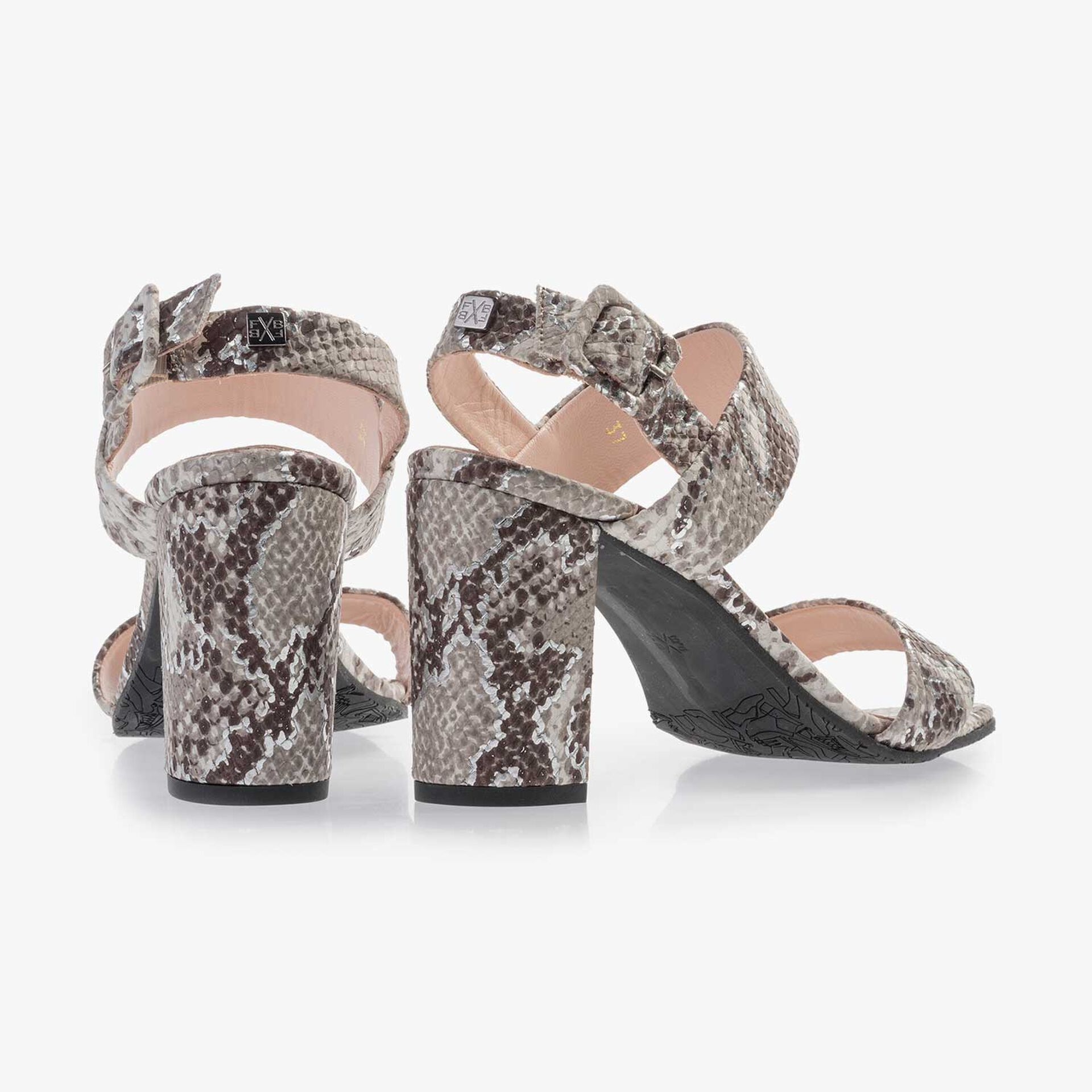 Taupe-coloured leather sandal with snake print