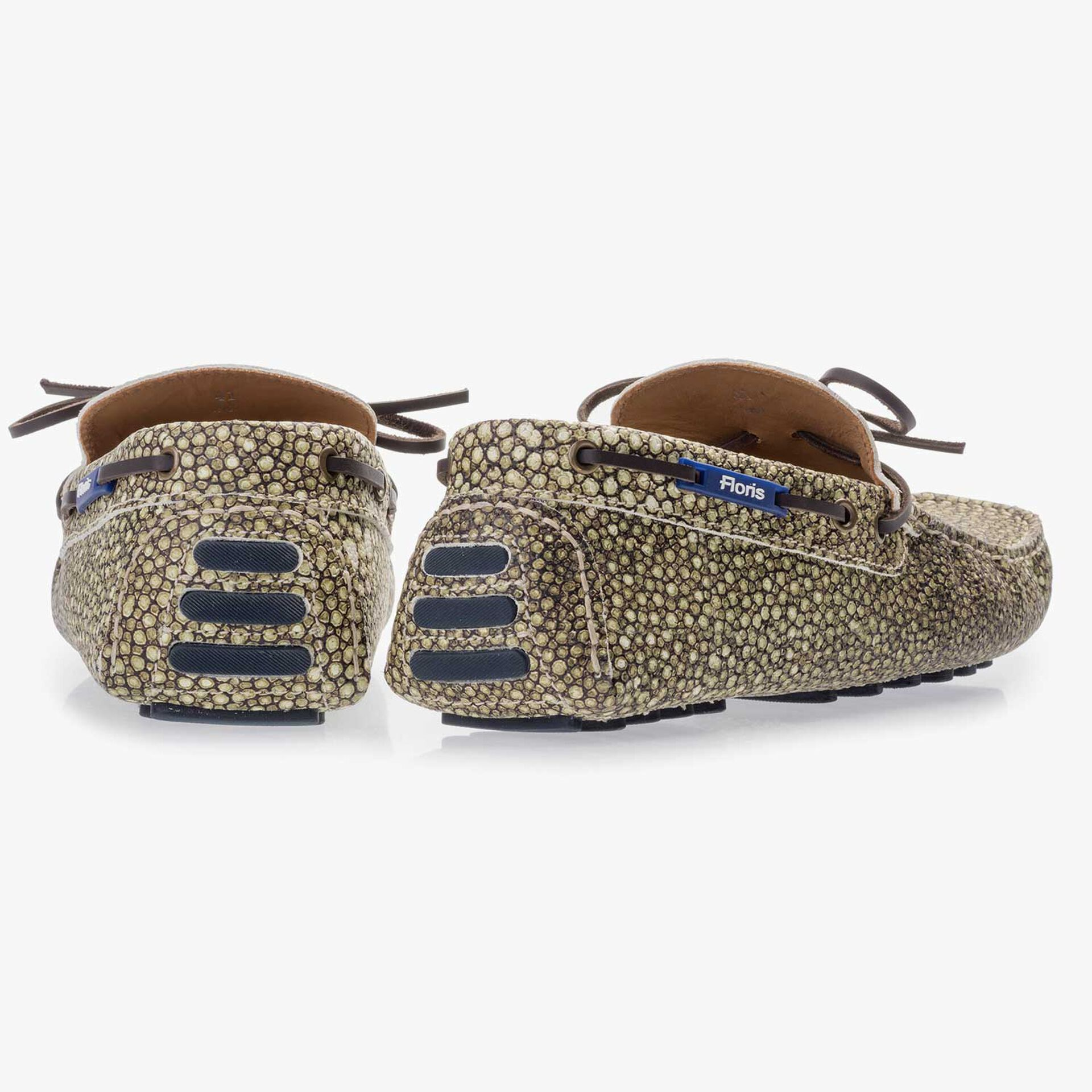 Green moccasin with rye pattern