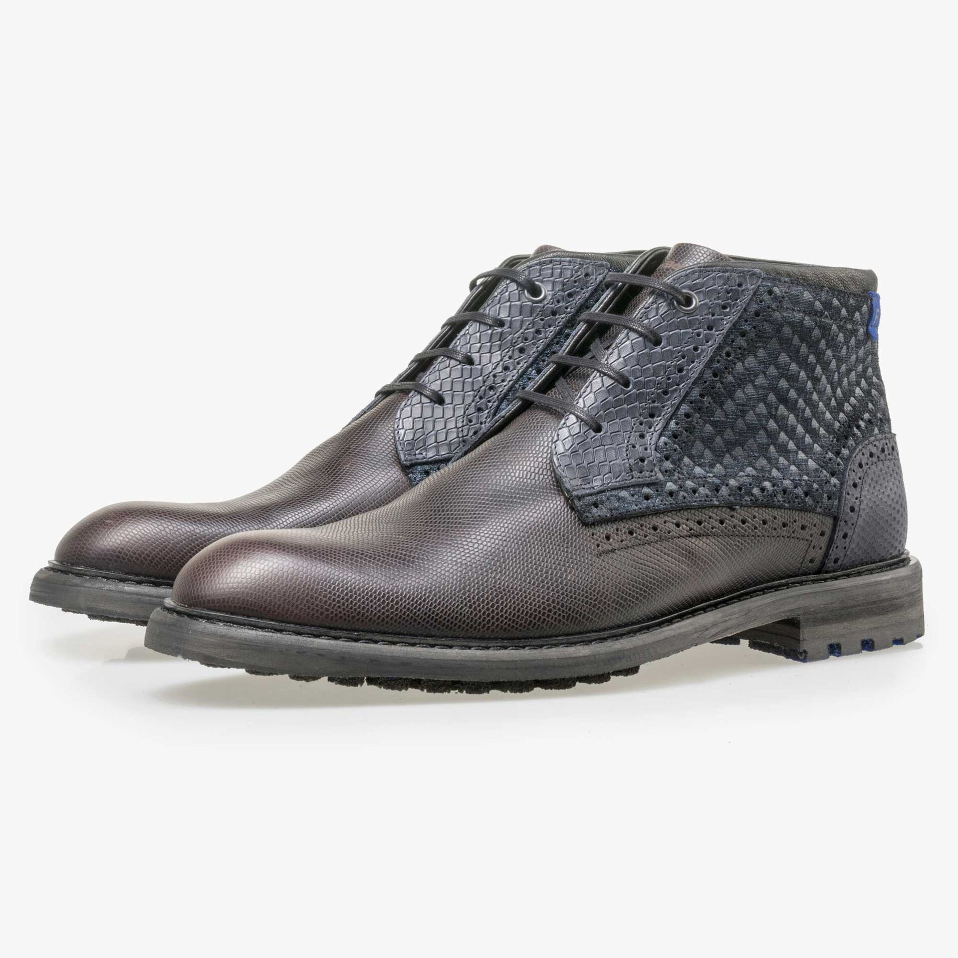 Floris van Bommel men's dark brown leather lace boot with a snake print