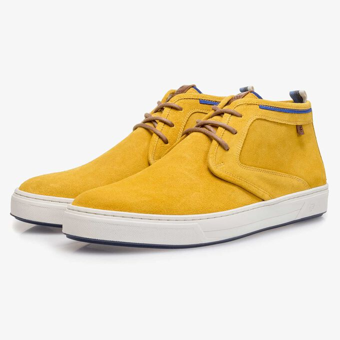 Mustard yellow washed suede leather lace shoe