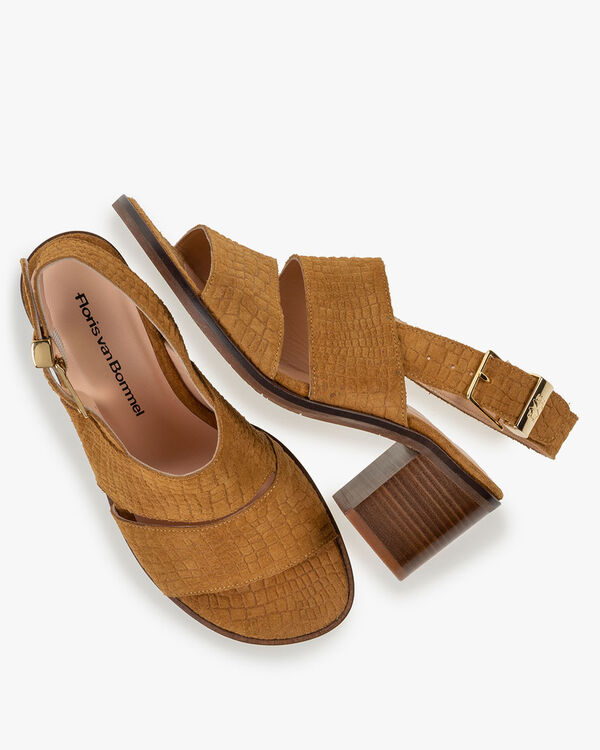 Sandal printed suede leather cognac