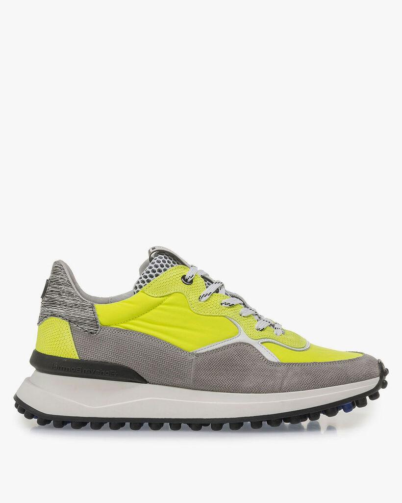 Premium suède sneaker grijs/geel