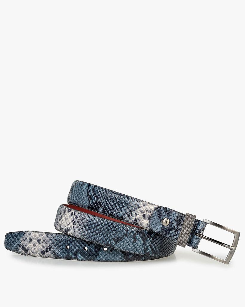 Belt printed leather blue