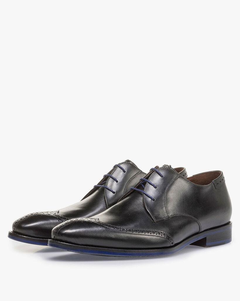 Black calf leather brogue lace shoe