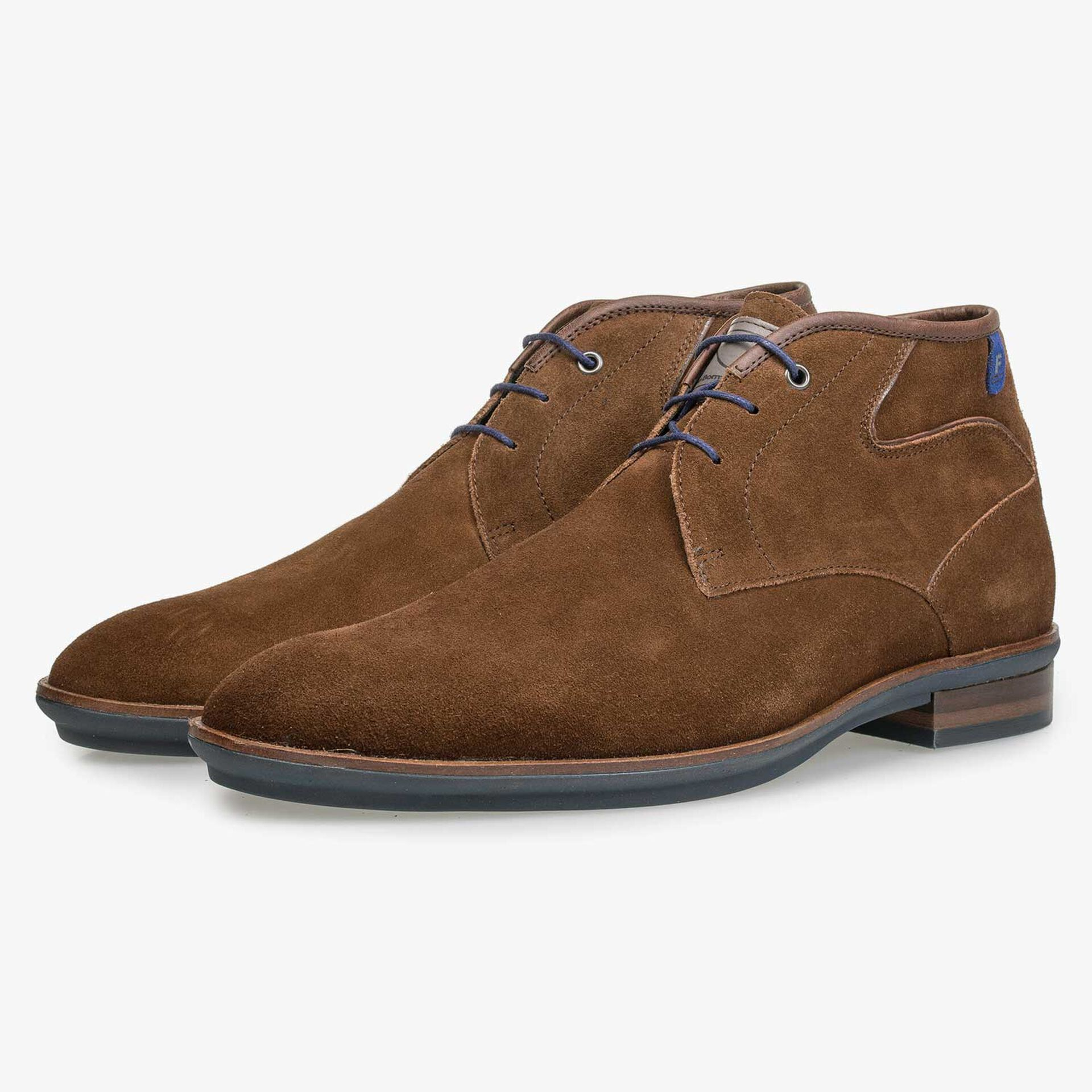 Brown calf suede leather lace boot
