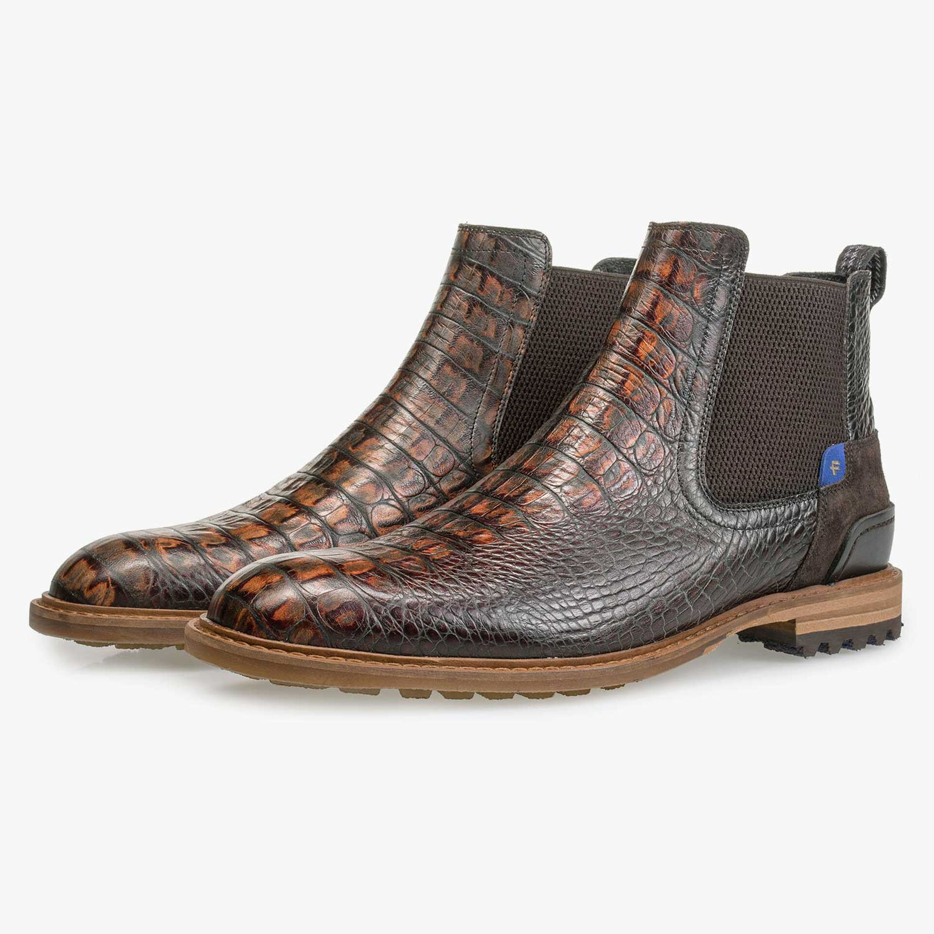 Brown calf's leather Chelsea boot with croco print
