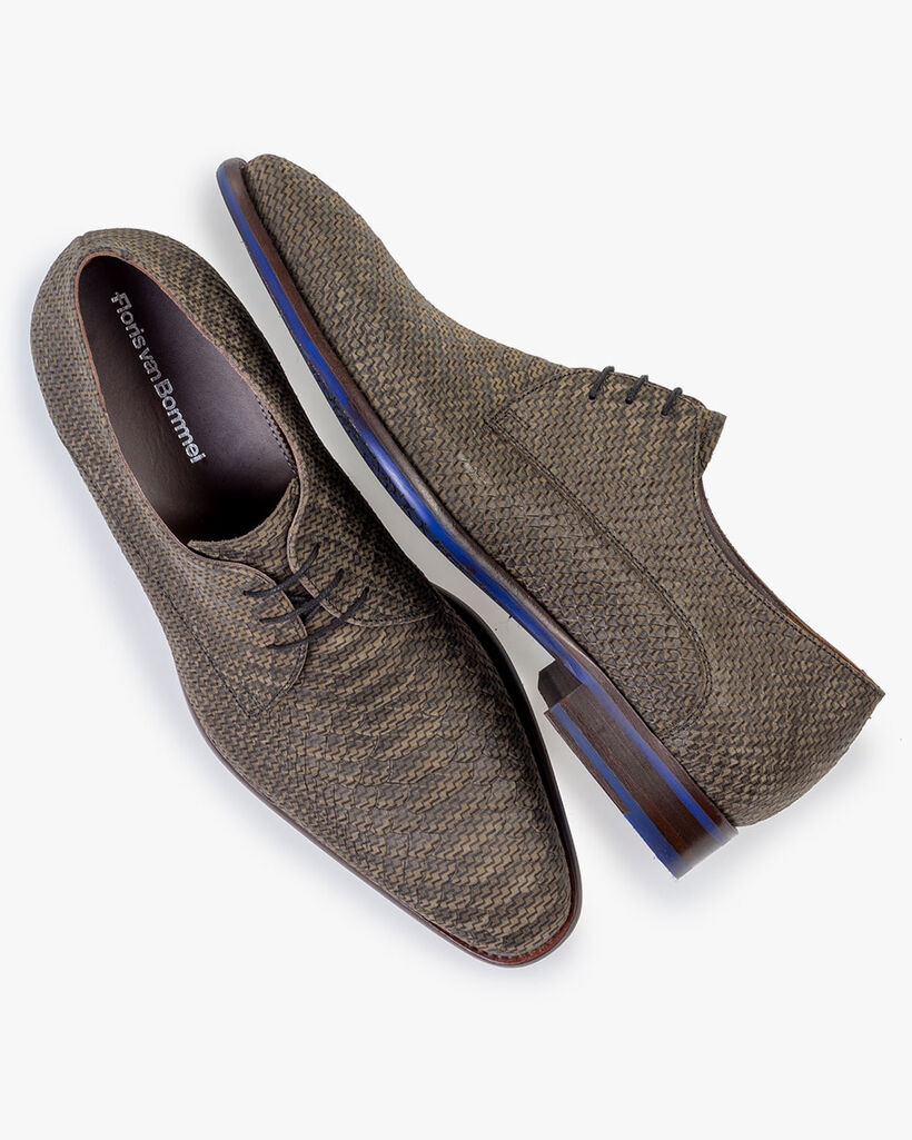 Lace shoe printed leather dark green