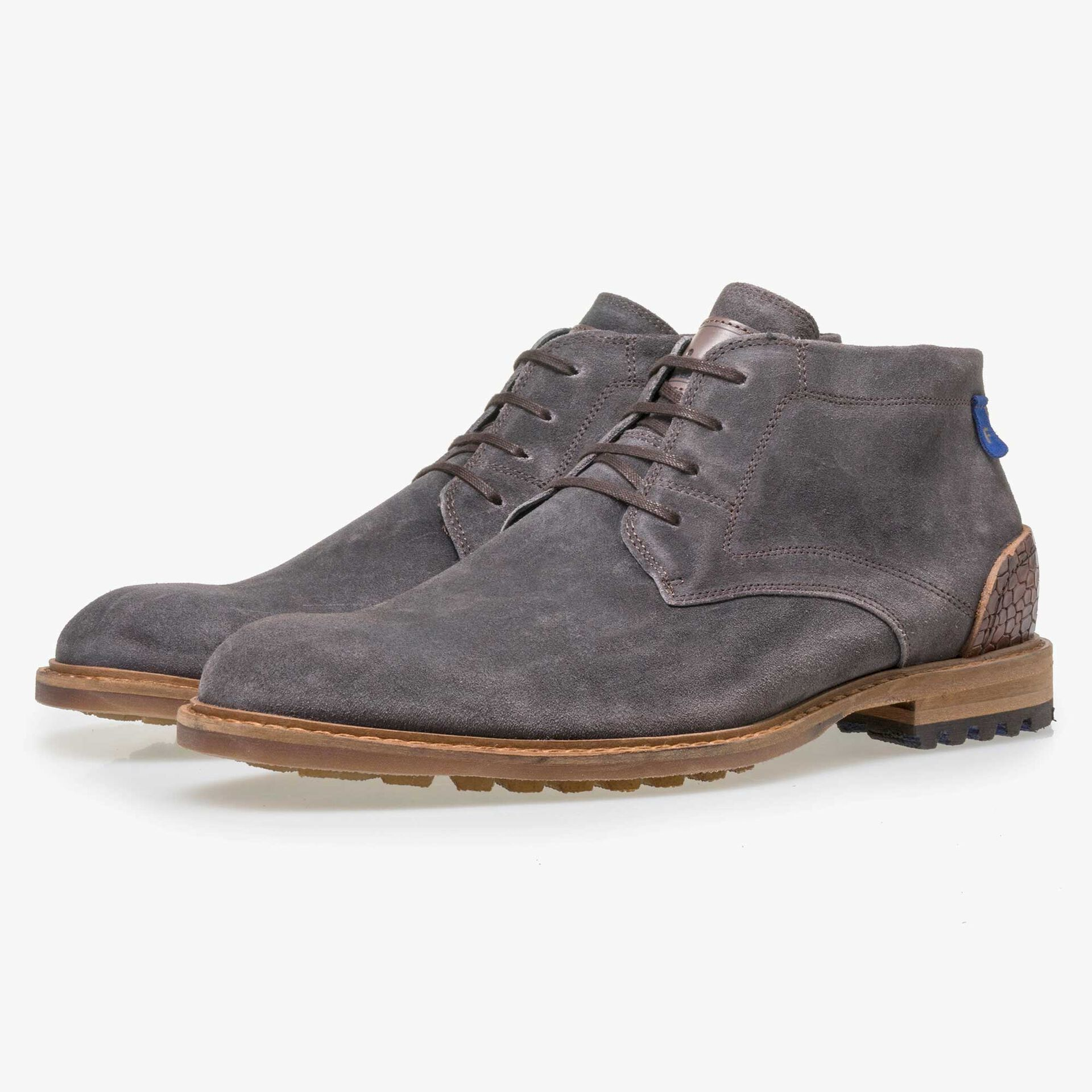 Floris van Bommel men's grey suede leather lace boot