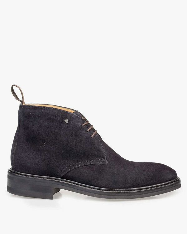 Dark blue suede leather lace boot
