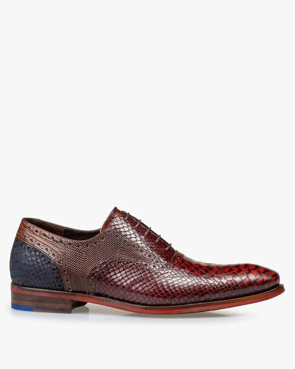 Lace shoe printed leather cognac