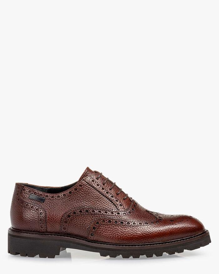 Lace shoe printed leather cognac