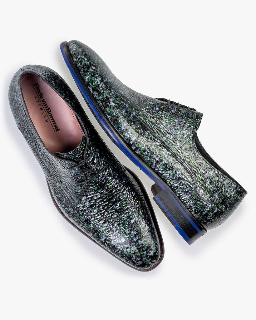 Lace shoe metallic print green