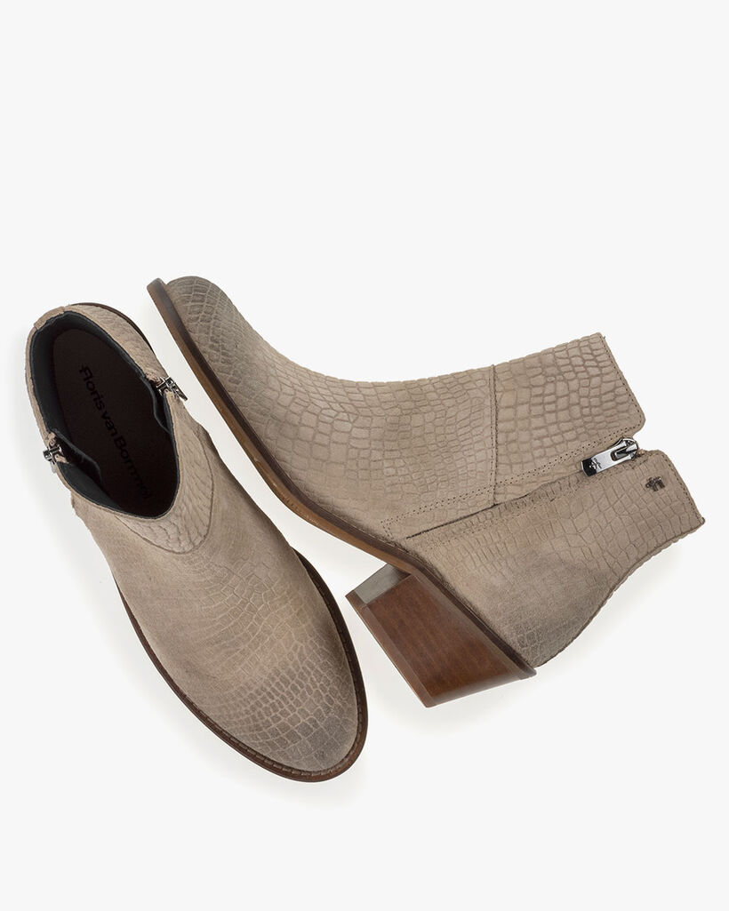 Ankle boot suede leather beige