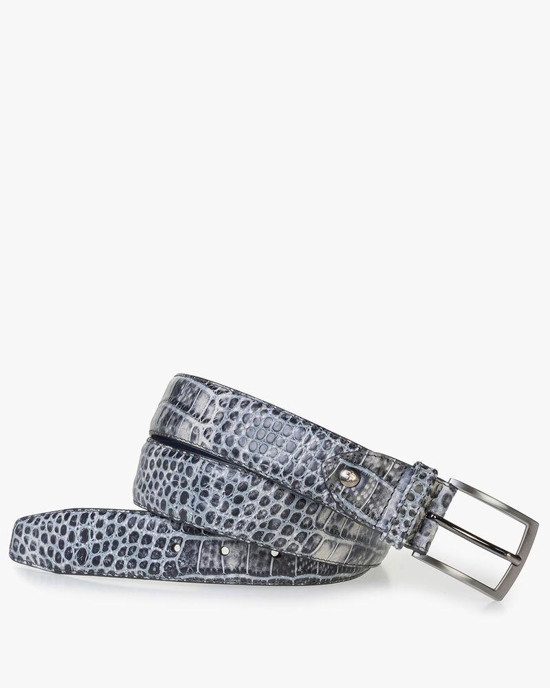 Black leather belt with black croco print