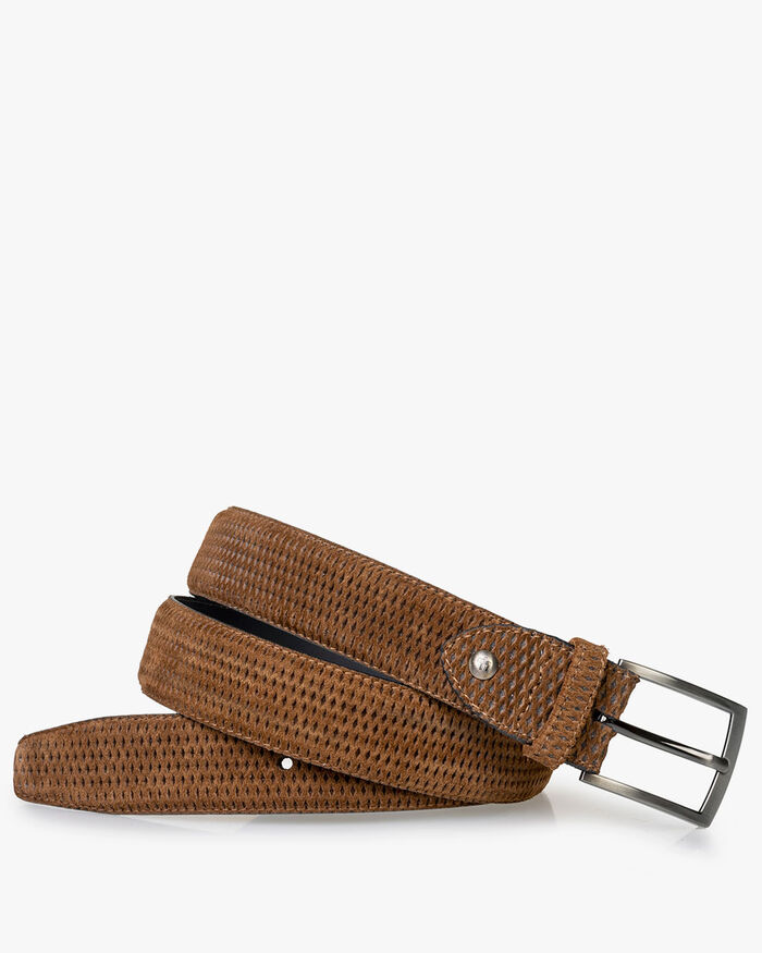 Belt cognac suede leather